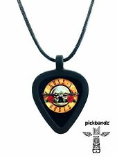 GUITAR PICK Necklace by Pickbandz PICK HOLDER in Black w/ GUNS-N-ROSES pick!