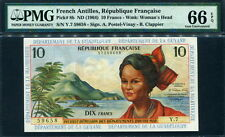 French Antilles 1964, 10 Francs, P8b, PMG 66 EPQ GEM UNC
