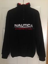 Vintage 1990's Nautica Competition Black Pullover Fleece 1/4 Zip Medium