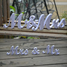 1X wonderful Mr and Mrs White PVC Letters Sign Wooden Stand Top Table Wed Decor