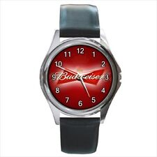 Budweiser Beer Lager Logo #A leather metal watch
