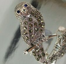 925 STERLING SILVER, MARCASITE and blue CZ OWL BROOCH oxidised 19mm x 21mm, 6.5g