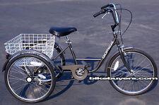"""Gomier Shimano 6-speed Adult Tricycle Bike Bicycle 3 wheel wheeler 24"""" Dark Grey"""