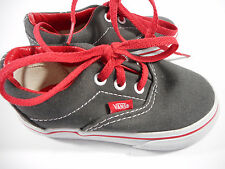 VANS Grey Gray Red White Tennis Shoes Canvas Toddler Boy's Shoes Size 5.5