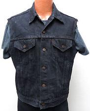 vtg Levi's BLACK JEAN VEST LARGE 80s usa made denim jacket biker trucker L