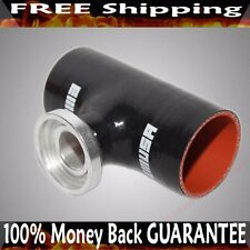 "3"" BLACK Silicone SSQV Type Flange Adapter for Toyota Acura Mazda BMW"