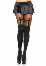 Spandex Opaque Cross Pantyhose With Sheer Thigh Accent (Black;One Size)