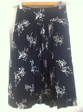 Ladies REGATTA Floral Skirt Size 14 Petites Black & White Full Mid Length Cotton