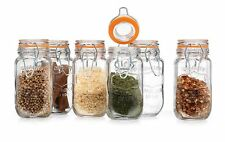 HC  Home Airtight Food Storage Glass Canister Seal Jar With Lid Set Of 6 Clear