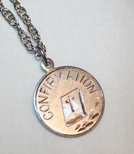 Creed Silver Overlay Confirmation Bible Medal Necklace