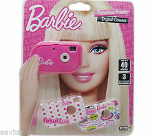 Barbie Fabulous Fuzzy Kids Girls Compact Digital Camera with Faceplates Pink