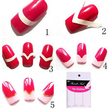10 Packs French Manicure Nail Art Tips Form Fringe Guides Stickers DIY Stencil