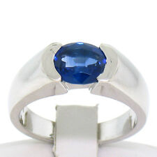 Men's Solid Platinum 2.14ct Half Bezel Set Oval Royal Blue Sapphire Pinky Ring
