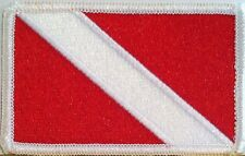 DIVER DOWN SCUBA DIVING FLAG Iron On Patch Embroidery White Border Nautical 002