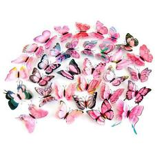 12x 3D Butterfly Wall Sticker Fridge Magnet Party Room Decor Decal Applique Pink