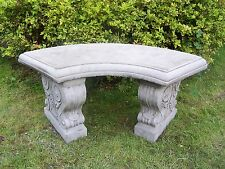 LARGE CURVED GARDEN BENCH Hand Cast Stone Garden Ornament Concrete ⧫onefold-uk