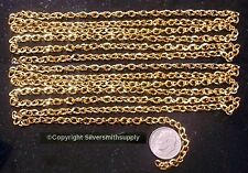 6ft Gold plated flat oval twist 6x4mm bulk large cable link necklace chain ch117
