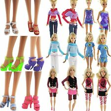 15 Pcs = 5 Sets Clothes + Pants / Skirt & 5 Shoes Casual Outfits For Barbie Doll