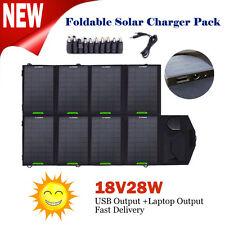 Foldable 18V 28W Portable Solar Battery Charger Backup For Laptops/iPhone/Phones
