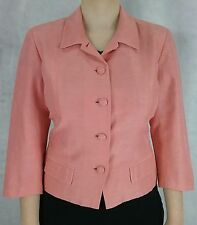 Talbots 10 L pink silk linen button pocket crop blazer dress jacket womens