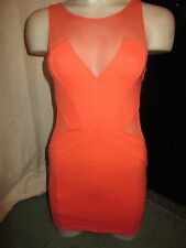 BNWT £45 TopShop Dress UK 6 Coral Orange Bodycon Plunge Sheer Mesh Panels Party