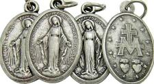 "Set of 4 Catholic Miraculous Mary Medal Lot Gift Silver Tone Metal 7/8"" Italy"