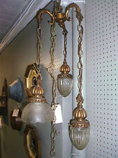 Beautiful Vintage Three Light Drop Entry Antique Brass Chandelier