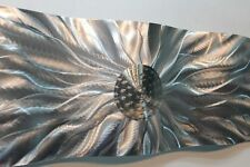 Etched Metal Abstract Modern Silver Wall Art Wave Sculpture Home Decor Accent