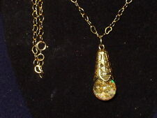 FLOATING WELO AND KYOCERA OPALS 14K GOLD FLAKES SNOW GLOBE  PENDANT NECKLACE