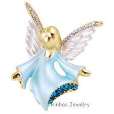 Ángel De Cristal Broche Insignia Pin Azul Damas Mamá El Dia De La Madre Cumpleaños
