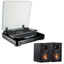Audio-Technica AT-LP60 Automatic Stereo Black Turntable System w/Monitor Speaker