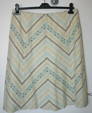 Principles UK16 EU44 cream lined skirt with green/blue diagonal floral stripes