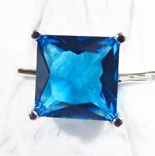 Sterling 925 Silver Filled Size 11 Ring 10*10mm Blue Topaz Gemstone