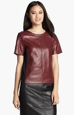 HALOGEN CRIMSON RED ROXBURY LEATHER KNIT TOP/BLOUSE  sz S