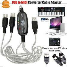 USB to MIDI Interface Cable Converter PC Music Keyboard Adapter Laptop New J4M7