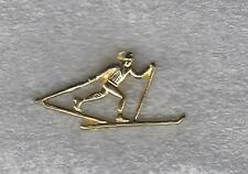 High School Cross Country Skiing Letterman Jacket skier Pin gold tone