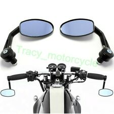 "BLACK MOTORCYCLE 7/8"" HANDLE BAR END MINI MIRRORS FOR BOBBER CLUBMAN CAFE RACER"