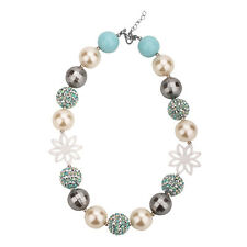 Frozen Snowflake Chunky Gumball Bubblegum Solid Beads Necklace Girl Kid Jewelry