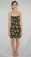 Vtg 90's BETSEY JOHNSON Black Flower Print Mini Cocktail Dress Size Petite - USA