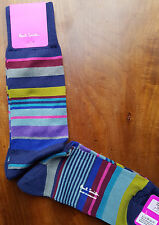 Paul Smith Mens English Socks Bright Stripe Navy &Multi F965 One Size Cotton Mix