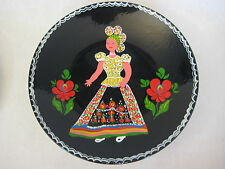 """Vintage Hand Painted Granit Pottery Plate, Made In Hungary, 8 1/2"""" Diameter"""