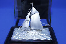 Free Shipping Sterling Silver Yacht Japanese Antique Ship Boat with case FS 3