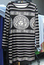 UK 12-14  BNWT Beautiful Black & Cream Medusa & Greek Key Stylish Jumper Dress L