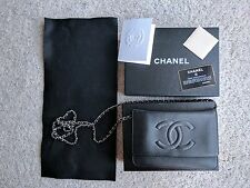 CHANEL CLASSIC TIMELESS WALLET ON CHAIN BLACK CAVIAR SILVER CHAIN