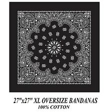 "XL BIG SUPER OVER SIZE BLACK PAISLEY 27"" Bandanna Cotton BANDANA Head Wrap Scarf"