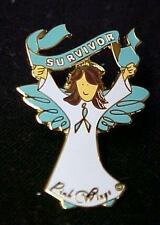 Teal Ribbon Angel Survivor Pin Ovarian Cancer Thyroid Awareness Brown Hair New