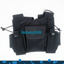 2 pcs Nylon Adjustable Hands-Free Two Way Radio Pouch Chest Front Pack