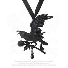 Alchemy Gothic - Black Raven Harbinger Pendant Choker Goth Crow Victorian NEW