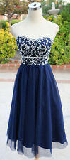 NWT ALEX & SOPKIA $110 Navy Party Dance Prom Dress 7