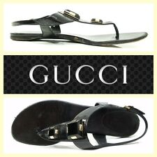 Gucci $595 black patent leather embellished flat thong sandals~9/8.5